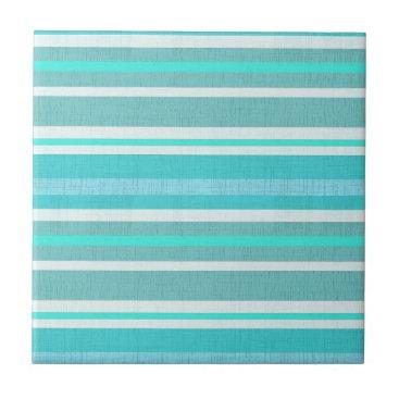LarkDesigns Turquoise Aqua Stripe Pattern Ceramic Tile