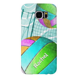 Turquoise Aqua Volleyball Girls Name Samsung Galaxy S6 Case