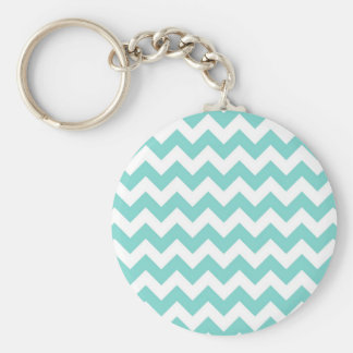 Turquoise Aqua White Chevron Zig Zag Pattern Basic Round Button Keychain