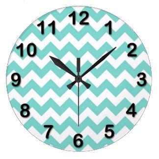 Turquoise Aqua White Chevron Zig Zag Pattern Wall Clock