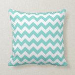 Turquoise Aqua White Chevron Zig Zag Pattern Throw Pillows