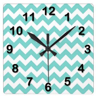 Turquoise Aqua White Chevron Zig Zag Pattern Square Wall Clock