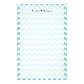 Turquoise Aqua White Chevron Zig Zag Pattern Stationery