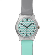 Turquoise Aqua White Chevron Zig Zag Pattern Wrist Watch