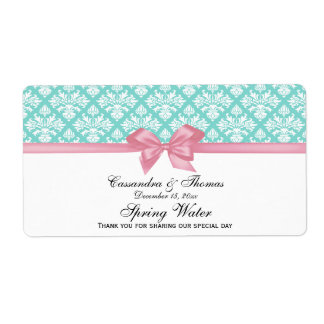 Turquoise Aqua, White Damask Water Label Pink Bow