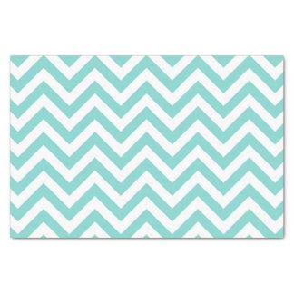 "Turquoise Aqua White Large Chevron ZigZag Pattern 10"" X 15"" Tissue Paper"