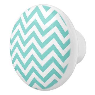 Turquoise Aqua White Large Chevron ZigZag Pattern Ceramic Knob