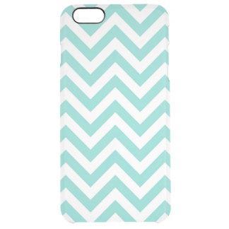 Turquoise Aqua White Large Chevron ZigZag Pattern Clear iPhone 6 Plus Case