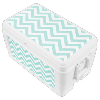 Turquoise Aqua White Large Chevron ZigZag Pattern Cooler