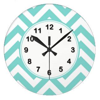 Turquoise Aqua White Large Chevron ZigZag Pattern Large Clock