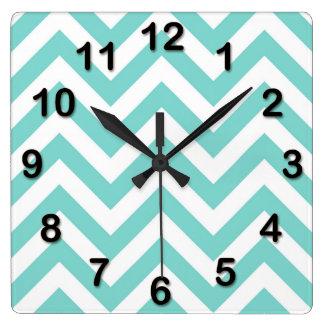 Turquoise Aqua White Large Chevron ZigZag Pattern Square Wall Clock