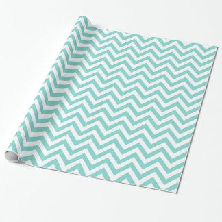 Turquoise Aqua White Large Chevron ZigZag Pattern Wrapping Paper