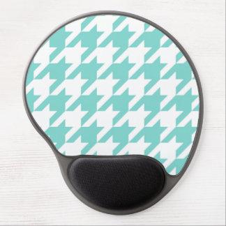 Turquoise / Aqua, White Large Houndstooth Pattern Gel Mousepad