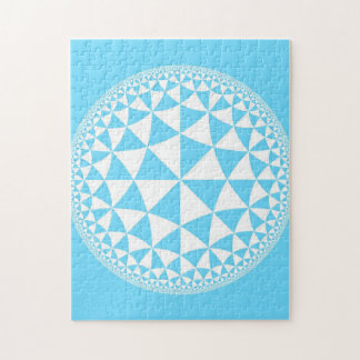 Turquoise / Aqua & White Triangle Filled Mandala Jigsaw Puzzle
