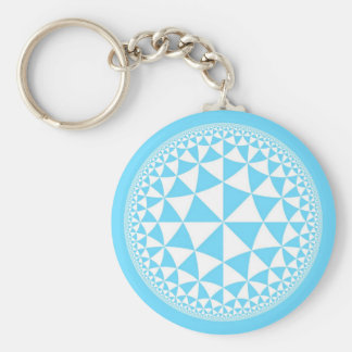 Turquoise Aqua & White Triangle Filled Mandala Keychain
