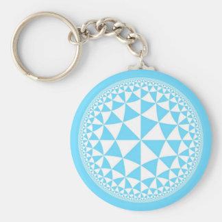 Turquoise Aqua & White Triangle Filled Mandala Keychain
