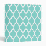 Turquoise Aqua Wht Moroccan Quatrefoil Pattern #4 Binders