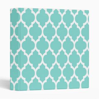 Turquoise Aqua Wht Moroccan Quatrefoil Pattern #4 Binder