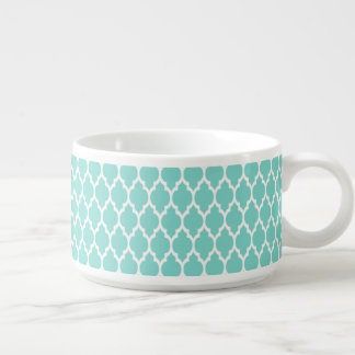 Turquoise Aqua Wht Moroccan Quatrefoil Pattern #4 Bowl