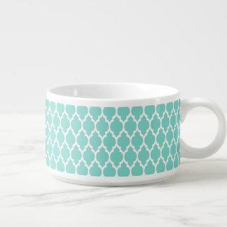 Turquoise Aqua Wht Moroccan Quatrefoil Pattern #4 Chili Bowl
