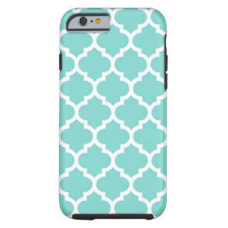 Turquoise Aqua Wht Moroccan Quatrefoil Pattern #5 Tough iPhone 6 Case