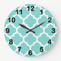 Turquoise Aqua Wht Moroccan Quatrefoil Pattern #5 Large Clock