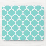 Turquoise Aqua Wht Moroccan Quatrefoil Pattern #5 Mouse Pad