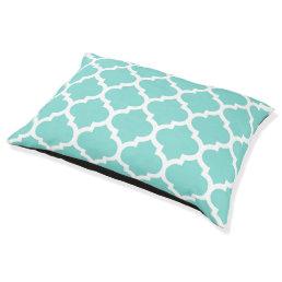 Turquoise Aqua Wht Moroccan Quatrefoil Pattern #5 Pet Bed
