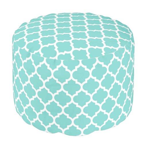 Turquoise aqua wht moroccan quatrefoil pattern 5 round pouf zazzle - Design pouf ...
