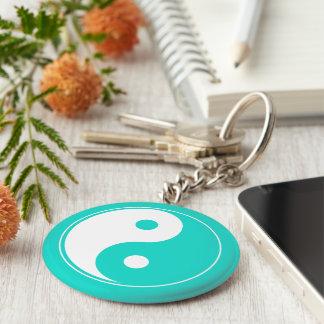 Turquoise Aquamarine - Yin & Yang Basic Round Button Keychain