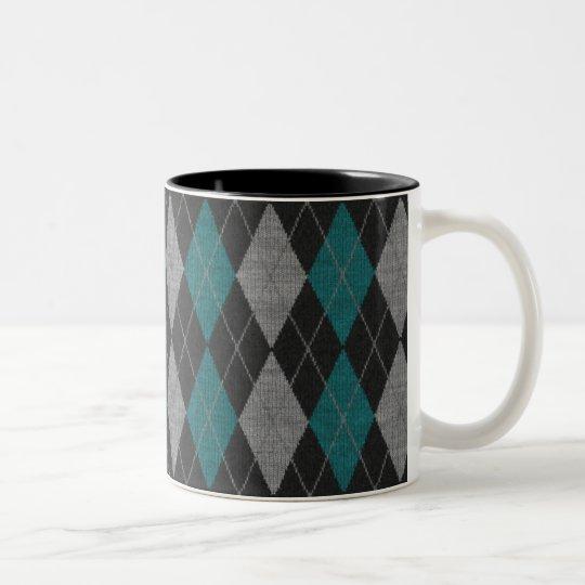 Turquoise Argyle Coffee Mug