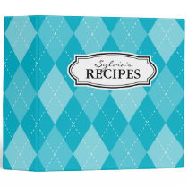 Turquoise argyle diamond pattern recipe binder