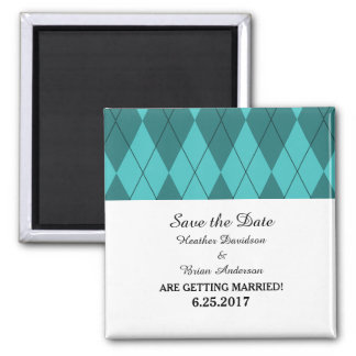Turquoise Argyle Save the Date Magnet
