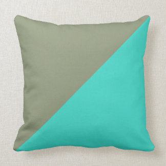 Turquoise & Artichoke Solid Color Background Pillow