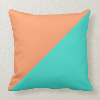 Turquoise & Atomic tangerine Solid Color Throw Pillow