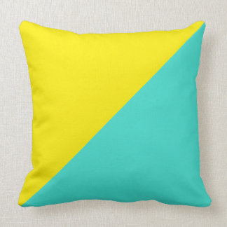 Turquoise & Aureolin Solid Color Background Throw Pillow