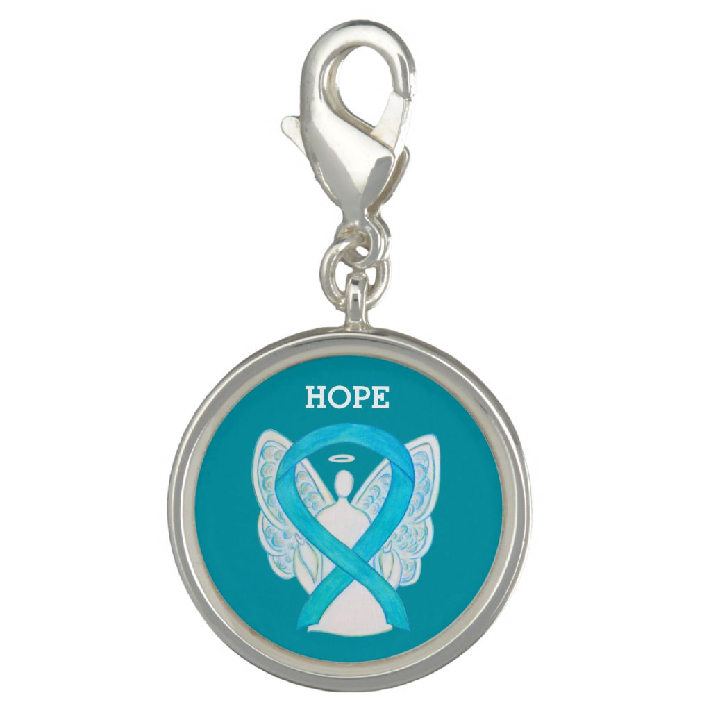 Turquoise Awareness Ribbon Angel Charm Bracelet