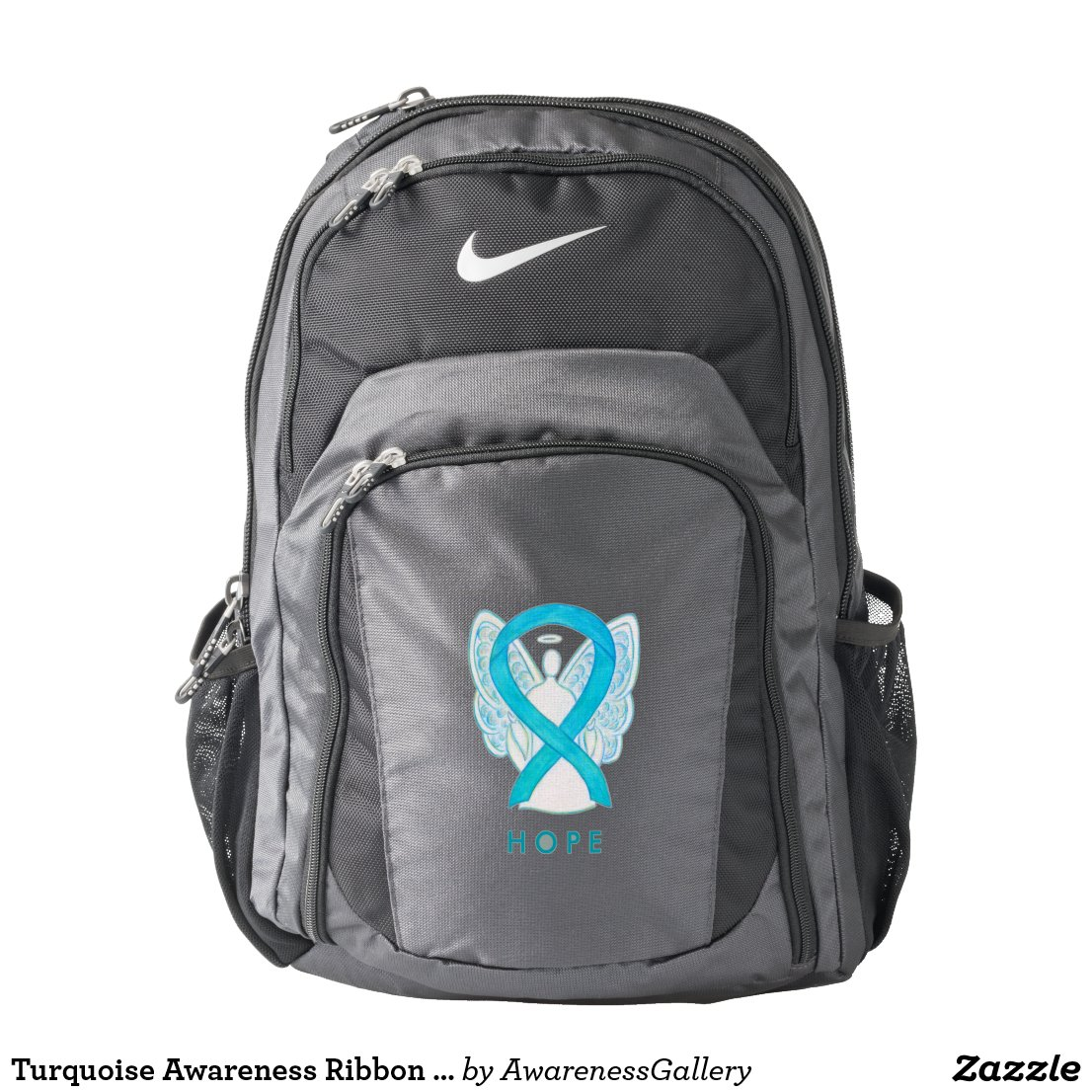 Turquoise Awareness Ribbon Angel Custom Backpack