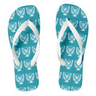 Turquoise Awareness Ribbon Angel Custom Flip Flops