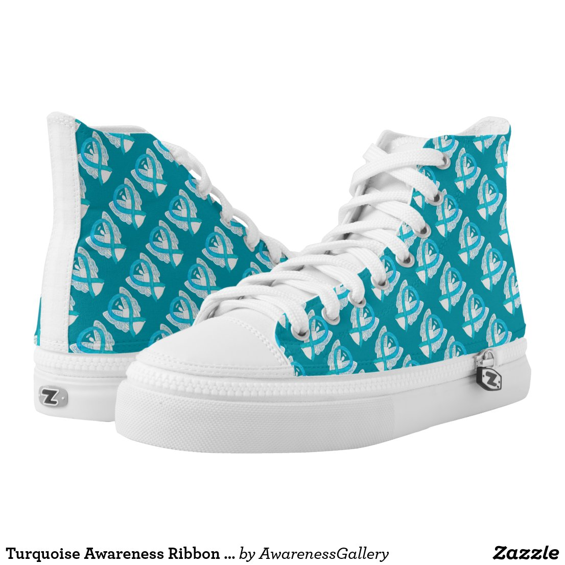 Turquoise Awareness Ribbon Angel Custom High Tops