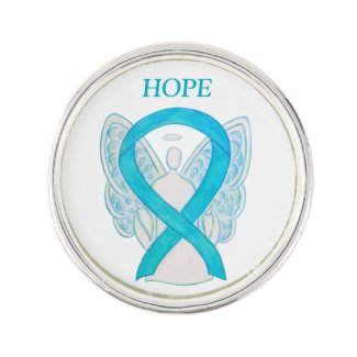 Turquoise Awareness Ribbon Angel Custom Lapel Pin