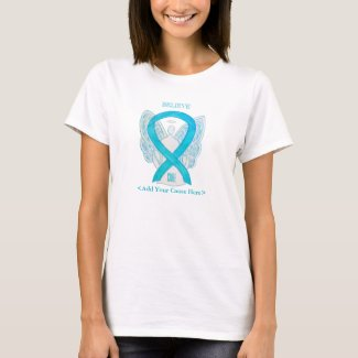Turquoise Awareness Ribbon Angel Custom Shirts