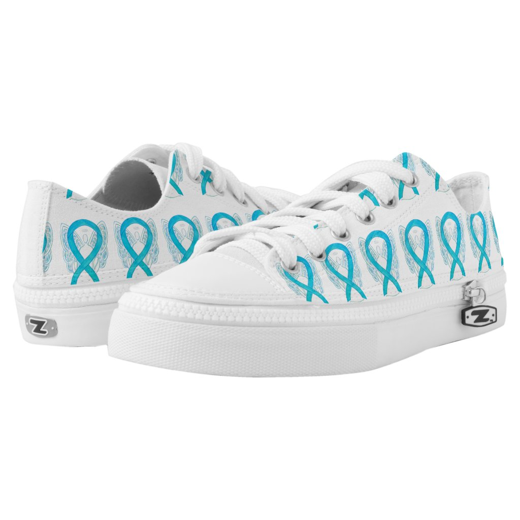 Turquoise Awareness Ribbon Angel Custom Sneakers