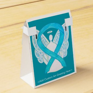 Turquoise Awareness Ribbon Angel Party Favor Box