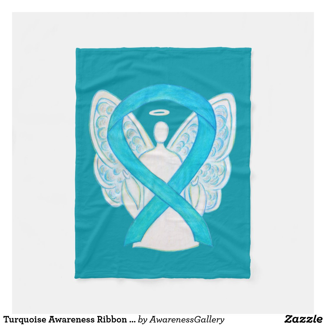 Turquoise Awareness Ribbon Angel Soft Blanket