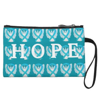 Turquoise Awareness Ribbon Hope Clutch Purse