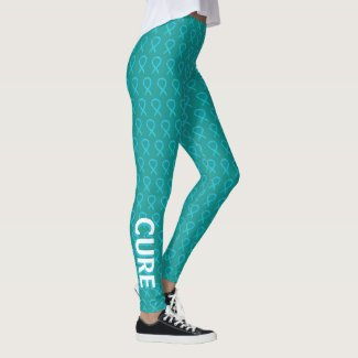Turquoise Awareness Ribbon Hope & Cure Leggings