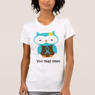 Turquoise Awareness Ribbon Owl T Shirt