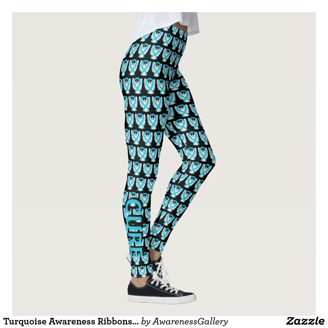 Turquoise Awareness Ribbons Hope & Cure Leggings