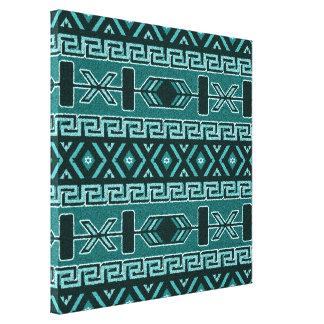 Turquoise Aztec Pattern Southwest Canvas Wall Art